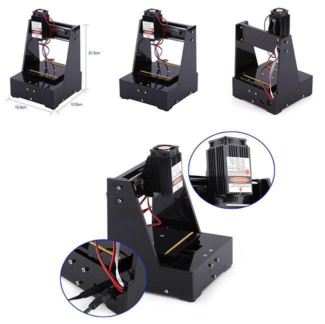 2000MW Mini Graveur Machine à Gravure Laser DIY CNC USB 7×7cm Lumière Bleu avec Lunettes de Protection 100-240V Outil de Gravure pour Win7, Win8, Win10, XP