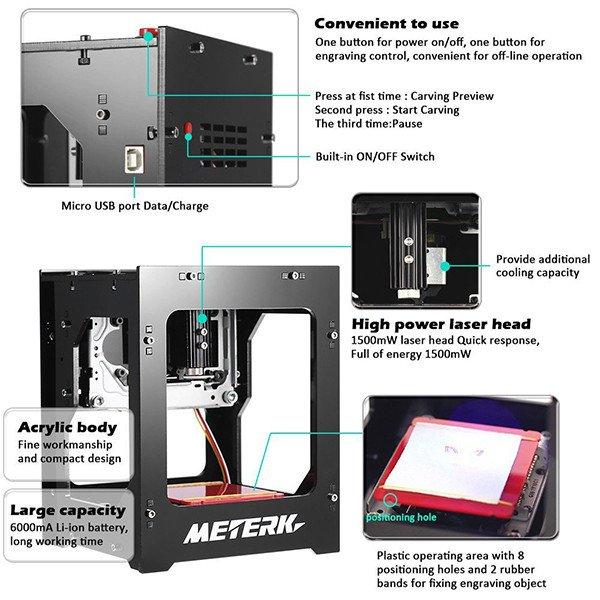 Meterk Gravure Laser 1500mW Mini DIY Graveure Laser Bluetooth USB Sans fil Bluetooth4.0 pour IOS / Android / PC avec Alliage Shell Frame Features