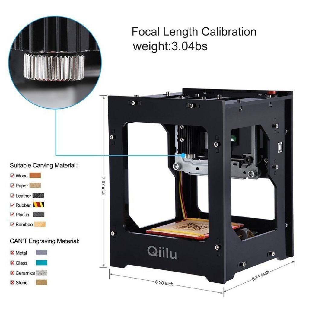Qiilu Gravure Laser DK-BL 1500mW Mini DIY Machine de Gravure Laser Bluetooth Sans Fil avec Protection Lunettes pour Win7 / Win8 / Win10 / XP / IOS 9.0 / Android 4.0 types de gravure matériaux
