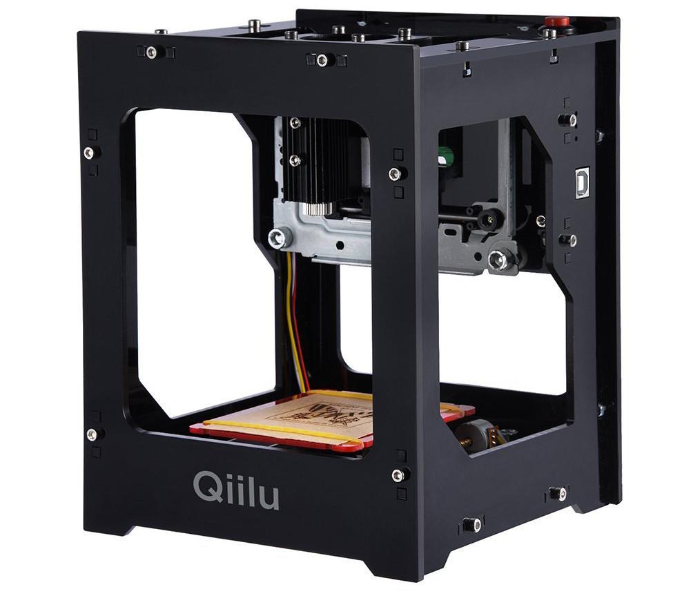 Qiilu Gravure Laser DK-BL 1500mW Mini DIY Machine de Gravure Laser Bluetooth Sans Fil avec Protection Lunettes pour Win7 / Win8 / Win10 / XP / IOS 9.0 / Android 4.0