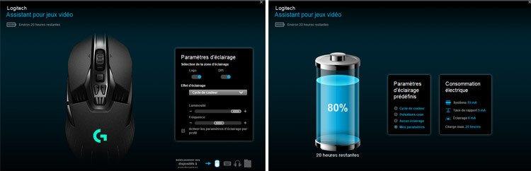 Logitech G903 Gaming Souris sans Fil Assistant pour jeux vidéo Paramètres d'éclairage de consomation