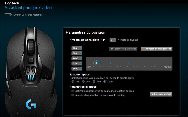 Logitech G903 Gaming Souris sans Fil Dashboard