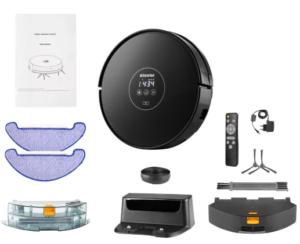 Alfawise X5 Aspirateur Robot Laveur Puissant, Robot Laveur de Sol Silencieux, Dirt Detect, 3 Modes de Nettoyage, Recharge Automatique, Télécommande, WiFi Application (Alexa/Google home/APP Store),Noir