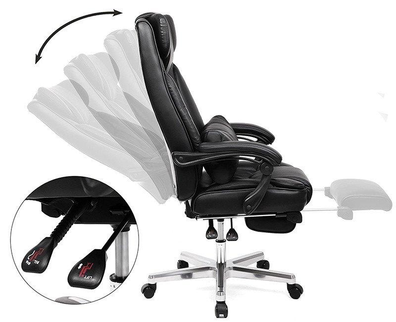 SONGMICS Fauteuil de Bureau avec Appui-tête modulable Repose-Pieds télescopique Chaise pivotant Design Ergonomique Noir Grande Taille OBG75B