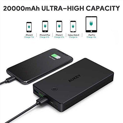 AUKEY Batterie Externe 20000mAh, Power Bank 2 Ports Entrée