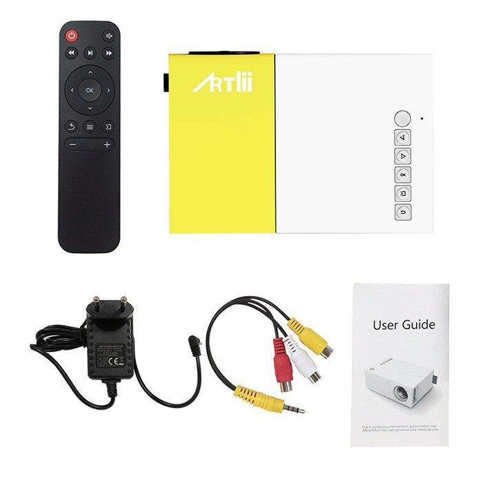 Artlii Mini Projecteur, LED Portable Projecteur avec USB-SD-AV-HDMI