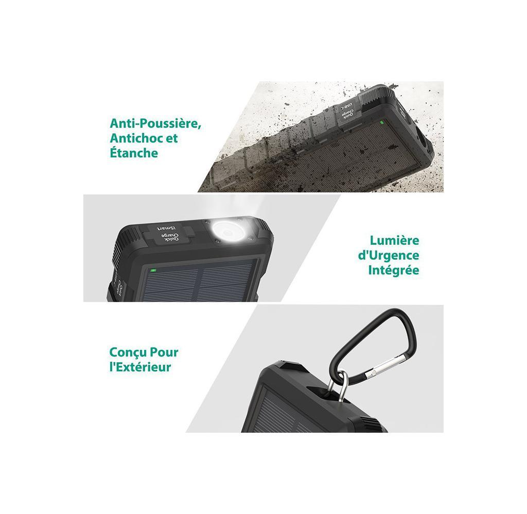 Chargeur Solaire Portable RAVPower 25000mAh - Entrées Micro-USB
