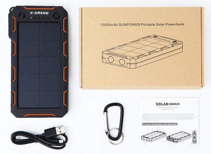 Chargeur Solaire X-DNENG Power Bank Solaire Batterie Solaire 15000mAh