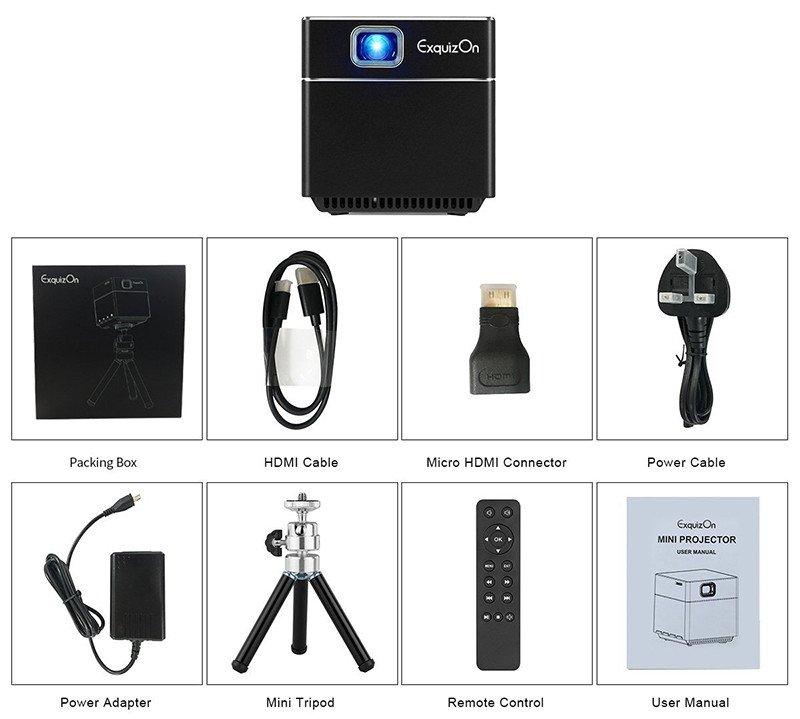 ExquizOn Mini Vidéoprojecteur HD, S6 DLP 1080P WiFi Batterie Intégrée