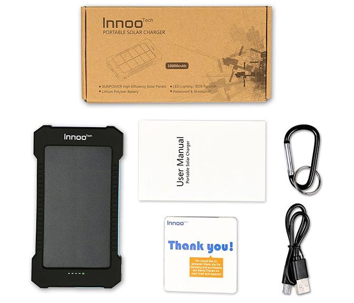 Innoo Tech 10000mAh Batterie Externe Solaire avec Deux Ports USB Chargeur Solaire