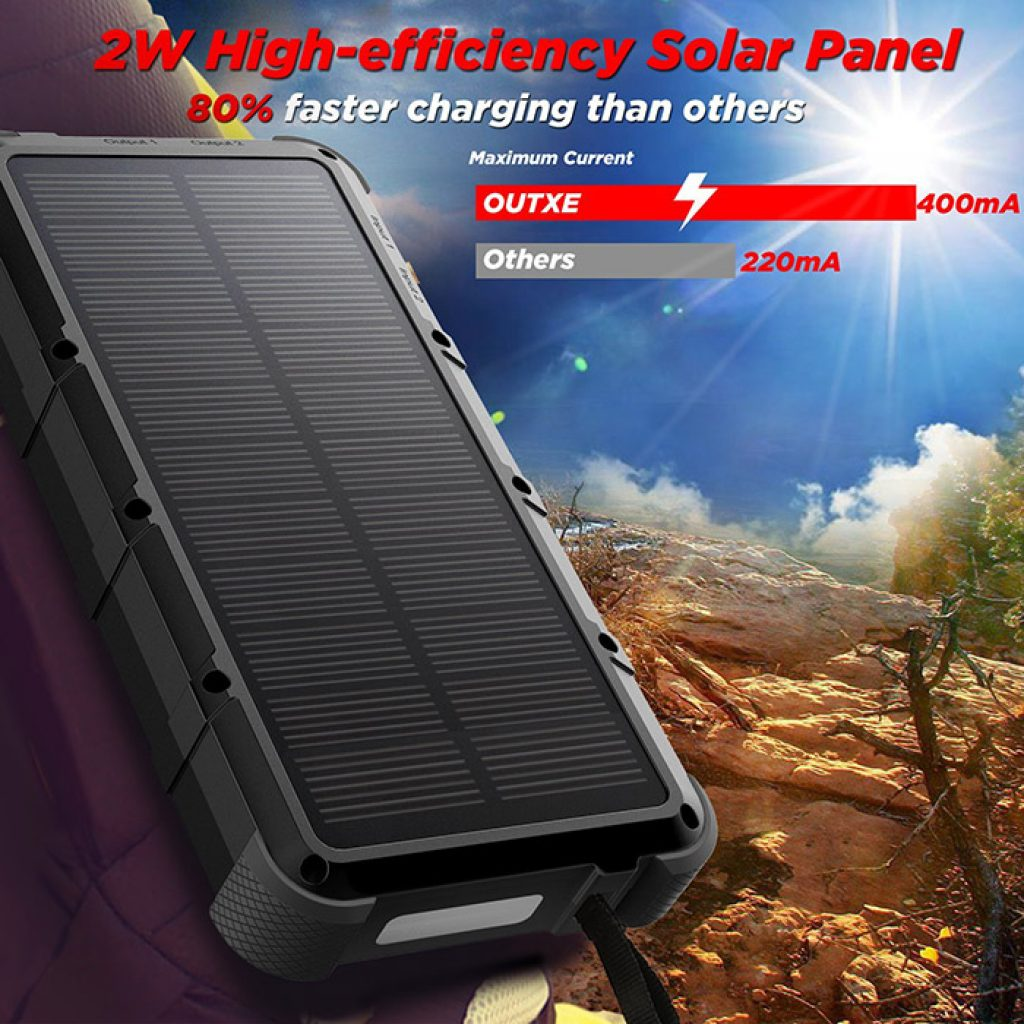 OUTXE Charge Rapide 20000mAh Chargeur Solaire Batterie Externe Robuste 4A