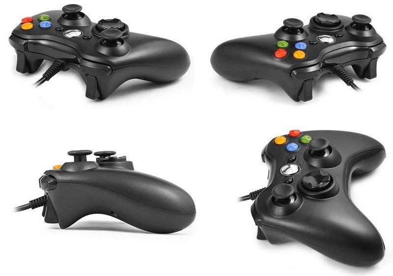 Manette filaire Xbox 360,USB Gamepad Controller ,Manette du Contrôleur de Jeu Filaire avec Double Vibration Joypad pour Windows PC-Xbox 360(Noir)jpg