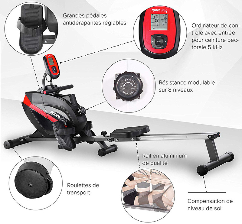 SportPlus - Rameur - Système de Freinage magnétique - Pliable et silencieux