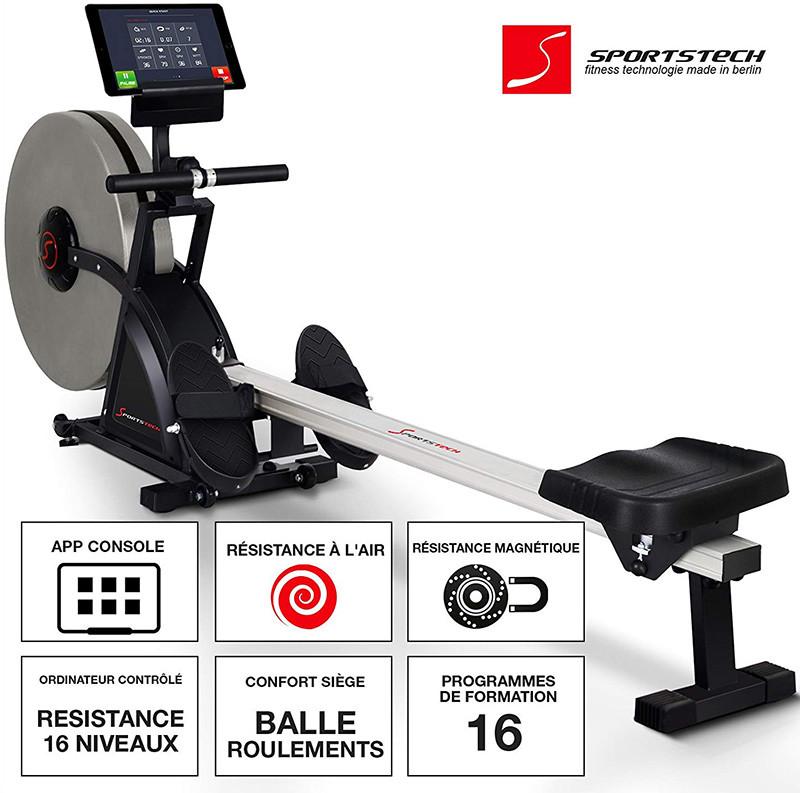 Sportstech Rameur ergomètre RSX400-RSX600 Compatible avec Appli Smartphone